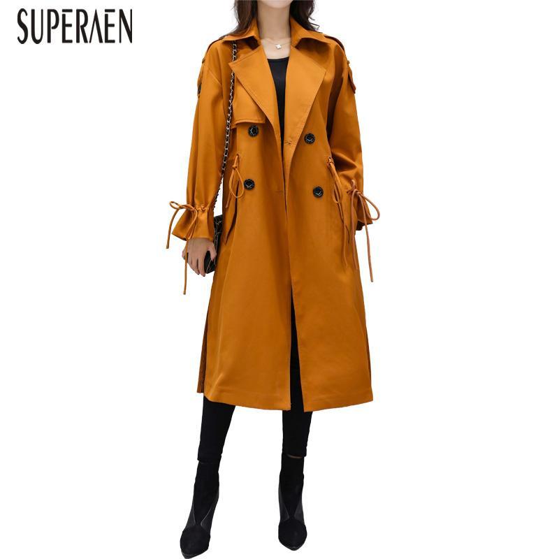 Acquista SuperAen Trench Coat Donna Wild Cotton Casual Fashion 2019 Spring  And Autumn New Ladies Windbreaker Pluz Size Abbigliamento Donna A  65.0 Dal  ... e2679c45e04