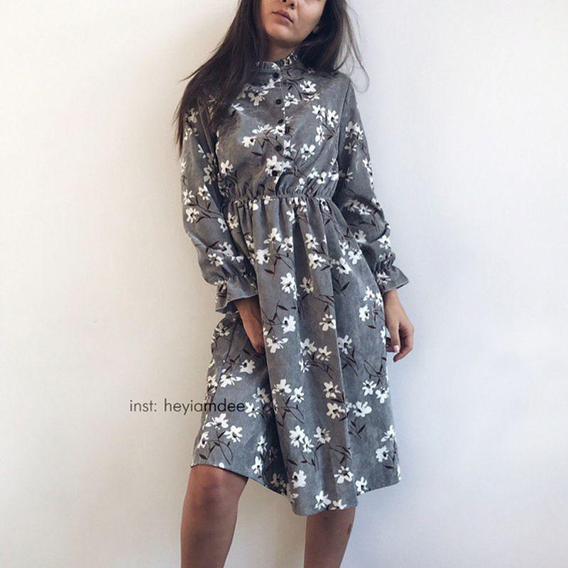 df0622a248d Corduroy High Elastic Waist Vintage Dress A-line Style Women Full ...