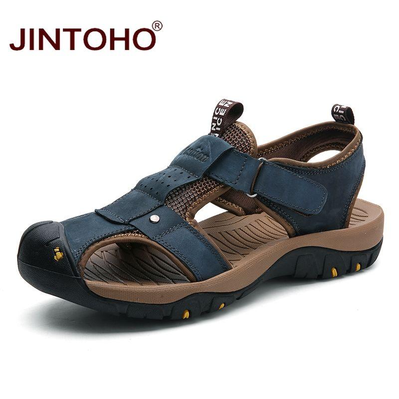 fbbc5977fd Compre JINTOHO Grande Tamanho Sandálias De Verão Sapatos De Moda Couro  Genuíno Homens Sandálias De Couro Ocasional Para Homens Praia Masculina De  Cupbury