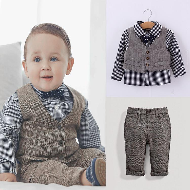 Wholesale Spring Cheap Children Preppy style clothe suits long sleeve plaid bow tie shirt + denim vest +denim pants Children clothes outfits