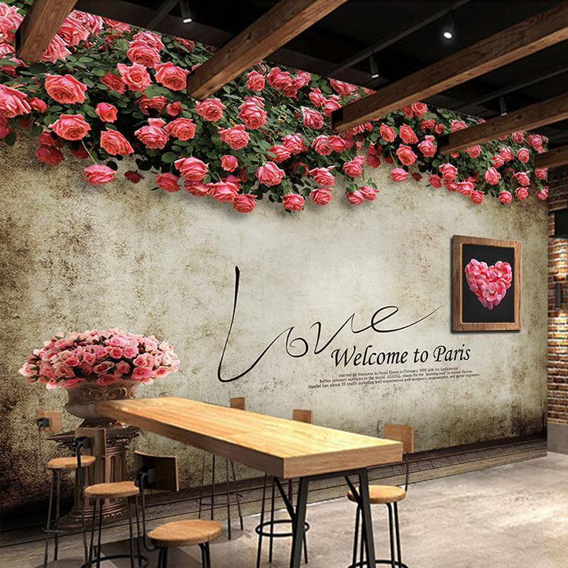 Custom 3d Photo Wallpaper Romantic Rose Flower Vine Backdrop Mural