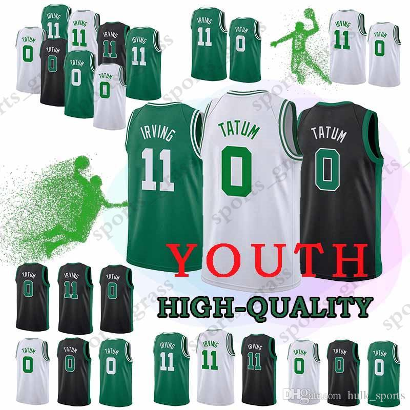 san francisco 5598c 4710a YOUTH Boston Jayson 0 Tatum Celtic Jerseys Kyrie 11 Jersey Top quality  Embroidery Logos children