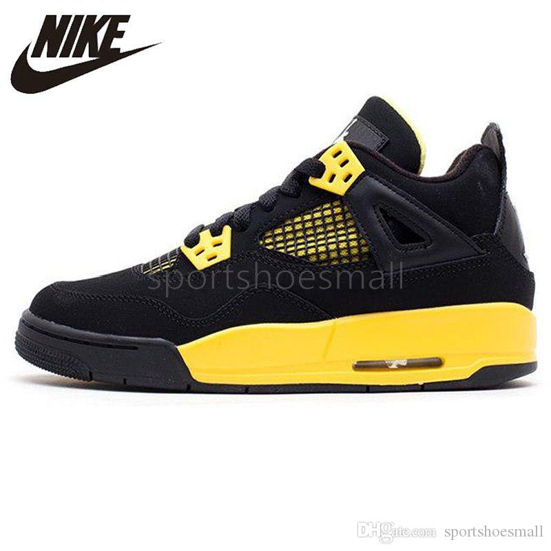 the latest fe3c4 55270 2019 Nike Air Jordan 4 Retro Thunder Mens Women Basketball Shoes Yellow  Black 4s IV Jordans Airs Retros Original Shock-absorbing Sneakers 308497  008 ...