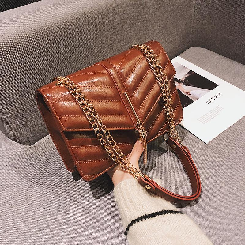 be6584e1d5ee Woman Package New Pattern Bag Korean Car Suture PU Skin Solid Color Single  Shoulder High Archives Small Real Diagonal Brown Handbag Hobo Handbags  Italian ...
