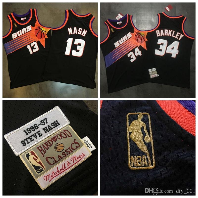 online store be40d 7db45 Phoenix Basketball Suns 13# Steve Nash Jersey 34# Charles Barkley MITCHELL  NESS Dense AU Fabric Black Retro Embroidery Jerseys