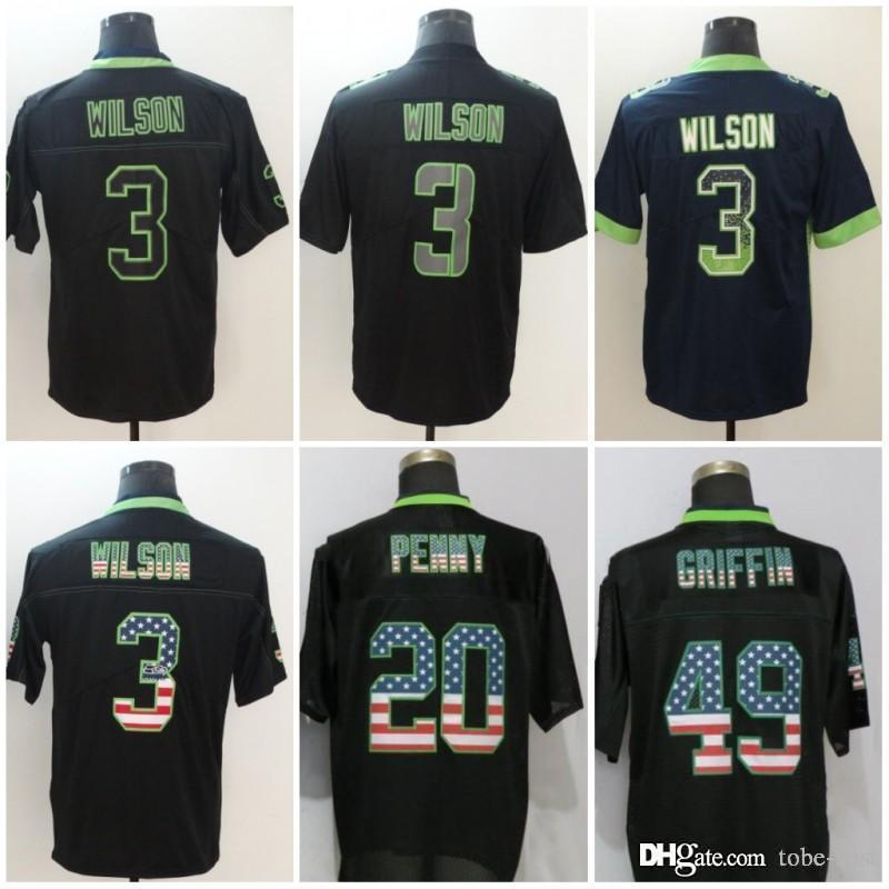 quality design f5b97 3fda2 Seattle 3 Russell Wilson Jerseys Seahawks 2018 Salute to Service USA Flag  Fashion Impact Lights out Black Rush Drift Camo Olive Limited