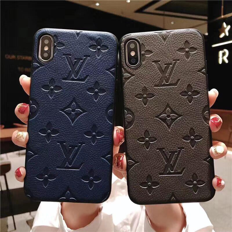 Slim Embossing Monogram Phone Case for Apple iPhone XS Max/XR 8/7/6 Plus for Women Girls Black Red Cell Phone Cases Shell