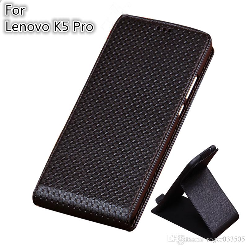 timeless design 114b5 e9a2f QX03 Luxury Genuine Leather Vertical Flip Phone Case For Lenovo K5 Pro Case  For Lenovo K5 Pro Vertical Flip Case