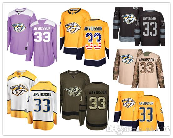 quite nice 01d16 a8523 Nashville Predators jerseys #33 Viktor Arvidsson Jersey hockey men women  youth gold yellow white home Breakaway Stiched authentic Jerseys