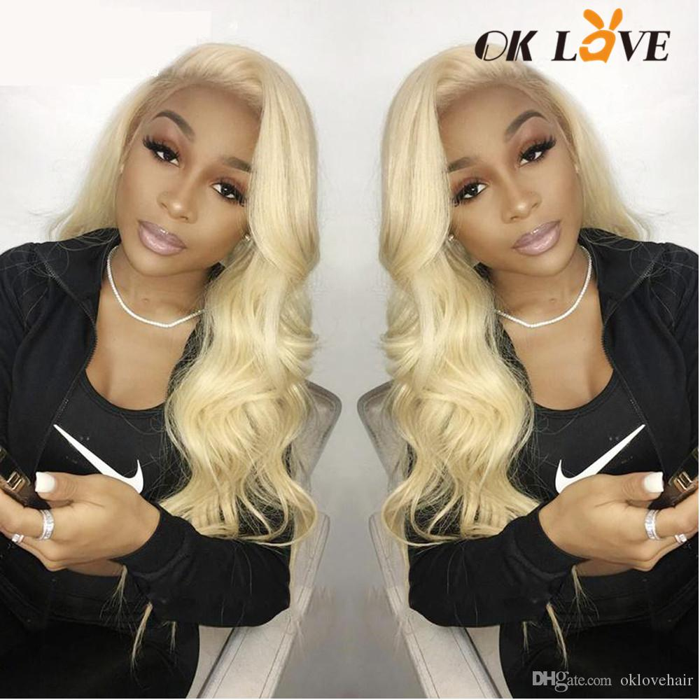 OKLove Full Lace Body Wave Human Hair Wigs Blonde Color 150 Density 8-24 Inch Pre-plucked With Baby Hair Wigs For Black Women
