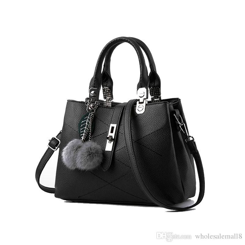 28a02e51a2f5 new medium Simple ladies totes bag casual thread hairball strap fashion  purse work satchels women crossbody shoulder handbag