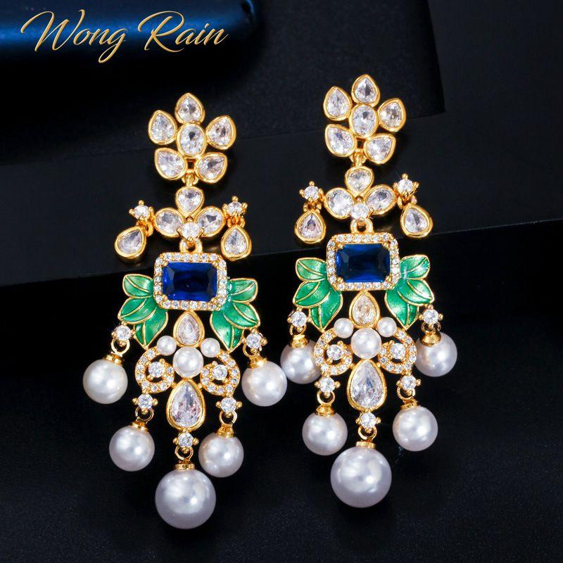 Wong Rain Bohemian 100% 925 Sterling Silver Created Moissanite Sapphire Gemstone Drop Dangle Earrings Fine Jewelry Wholesale