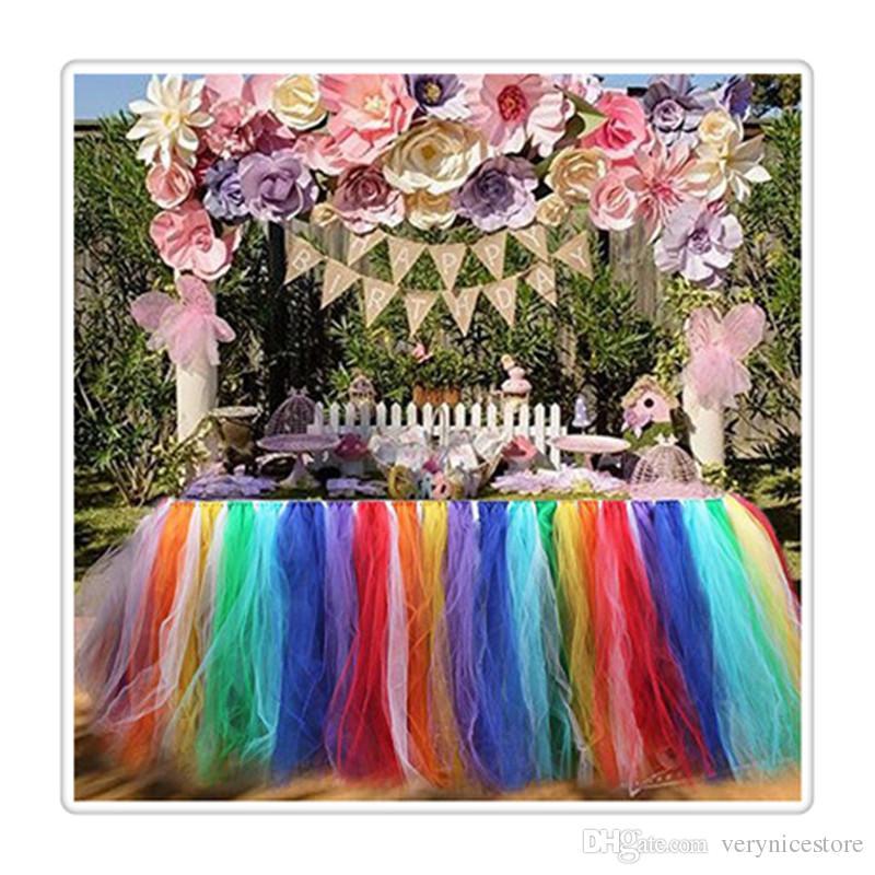 Tisch Röcke Abdeckung Tischdecke für Mädchen Prinzessin Party Baby Shower Pyjama Party Hochzeit Geburtstagsfeiern Dekoration Heißer Verkauf