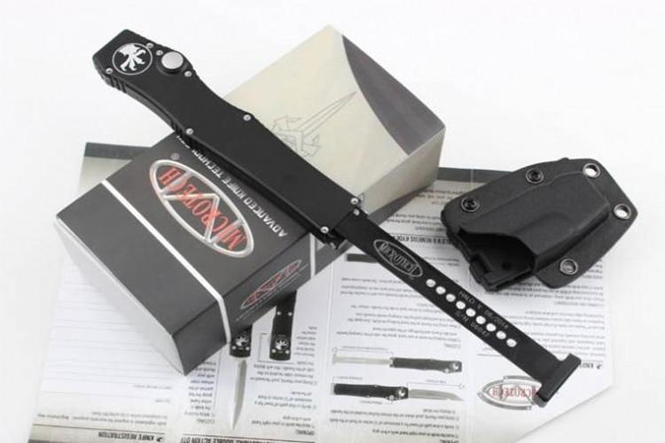 "High quality Microtech Black Classic Halo V UT85 Tanto Blade Knife 4.6"" Satin 150-4 single action auto Tactical knife Survival gear knives"