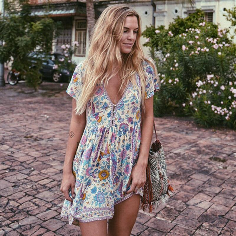03464454fe8 Boho Dress Rayon Birds Floral Print V Neck Buttons Loose Bohemian Chic Summer  Dresses Mini Beach Women Dress Vestidos De Verano Q190329 Golden Party Dress  ...
