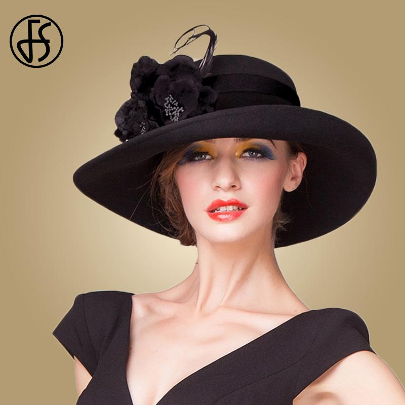 d50612614f0 2019 FS British Wide Brim Fedora Ladies Vintage Black White Purple Wool Hats  Women Elegant Bowler Cloche Hat Sombrero Mujer From Htiancai