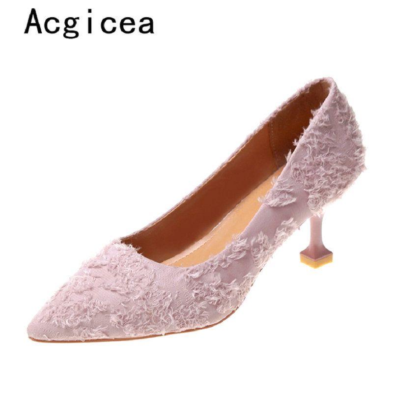 huge discount 0737b d3223 Kleid Schuhe 2019 Neue Trend Frauen Elegante Pumps Komfortable High Heels  Frau Sommer Beste Qualität Damen Casual Lila Jeans Schuhe