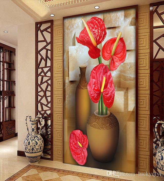 European oil painting red flower large mural wallpaper porch aisle corridor restaurant seamless background wall paper