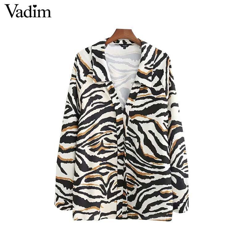 4587015f14 Vadim mulheres V neck zebra imprimir blusa solta padrão animal camisas de  manga longa do vintage feminino casual chique tops blusas LA650