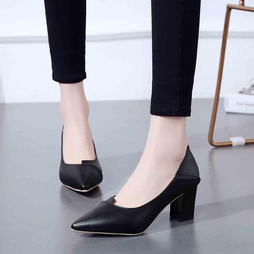 93a5507030c1 Designer Dress Shoes Fashion Women Pumps Comfortable Thick With High Heel  Leather Temperament Shallow Mouth Pointed Hollow Out Single Woman Sexy Shoes  Clogs ...