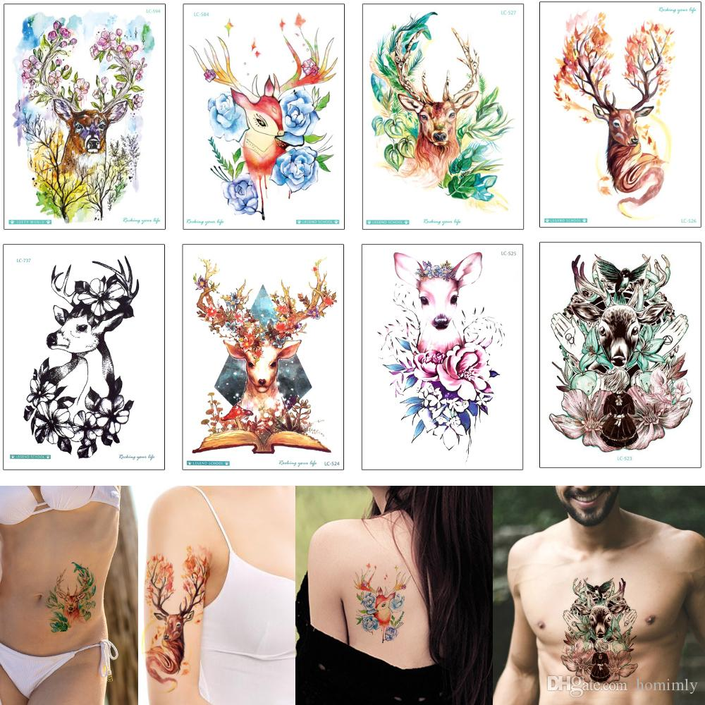 31c7315f90512 Colored Drawing Animal Waterproof Temporary Tattoo Deer Flower Body Art  Design Beauty Fashion New Tattoo Sticker Transfer Paper For Boy Girl  Temporary ...