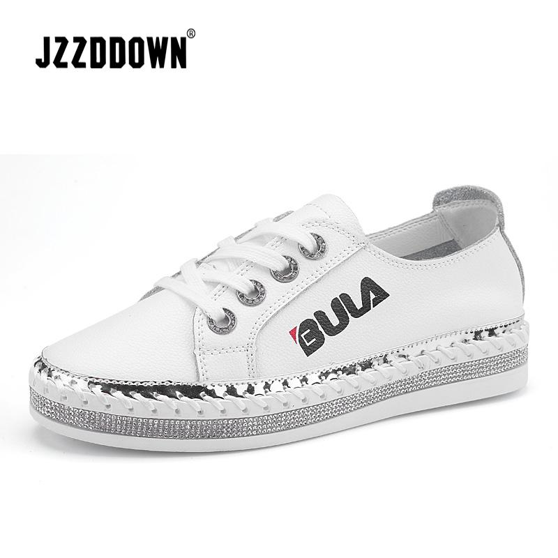 JZZDDOWN Sneakers For Women Genuine Leather Soft Ladies Leather Shoe  Wedding Sneakers On The Platform White Flat Women Shoes Casual Shoes For  Men Women ... 73d19c875e0a