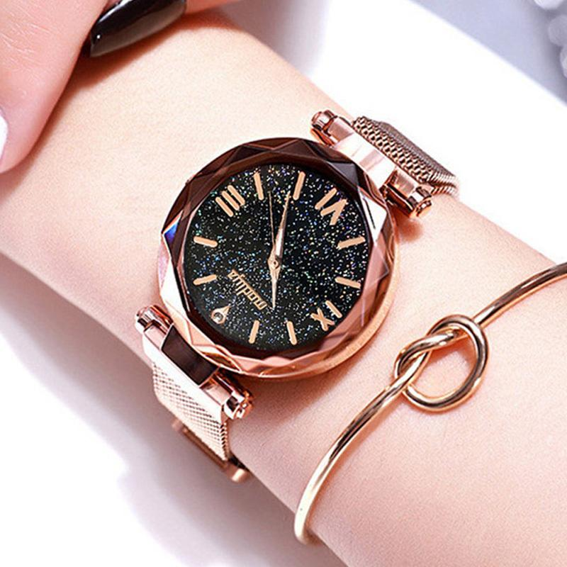5071a9f7ef53 Compre Relojes Para Mujeres Banda De Acero Inoxidable Magnético Lujo Starry  Sky Reloj Mujer 2019 Tendencias De Moda Relojes De Pulsera De Cuarzo A   9.03 Del ...