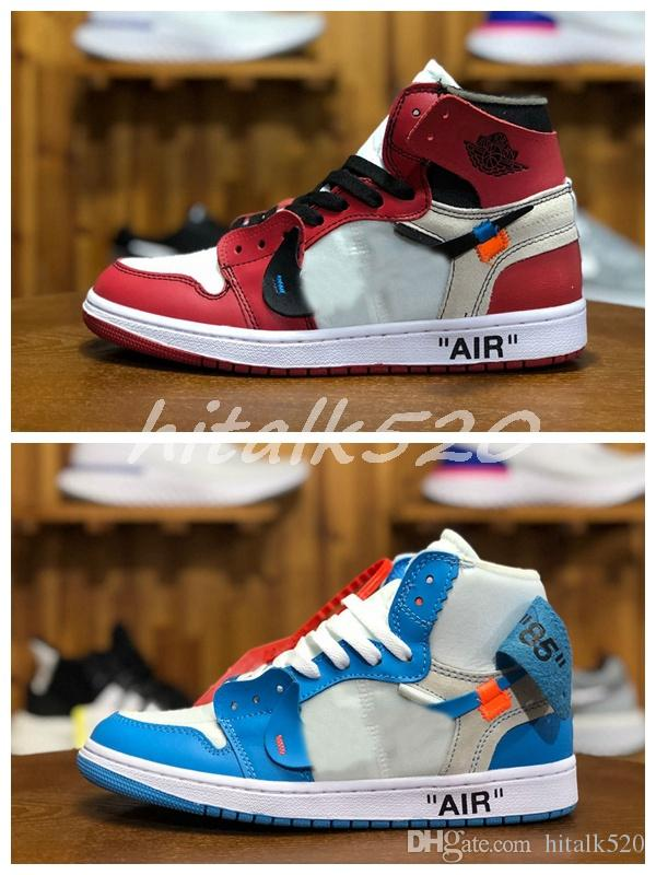 online retailer 83dec 756fe New OFF 1s Red Black 1 White Chicago UNC Mens Basketball Shoes For Men  Sports Womens Designer Sneakers Chaussures Trainers Size 36-45