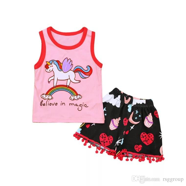 010edd9a 2019 Toddler Baby Girls Unicorn Tees Floral Rainbow Tassel Shorts Believe  In Magic Letters Printing Outfits Princess Girls Sleeveless Suits From  Rsggroup, ...