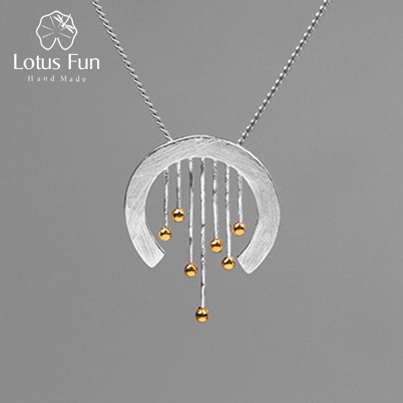 Lotus Fun Real 925 Sterling Silver Creative Handmade Fine Jewelry Oriental Element Vintage Curtain Pendant Without Necklace J190705