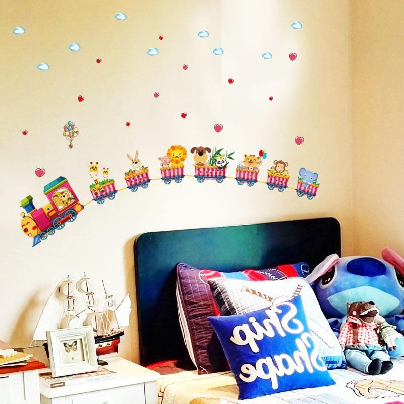 [ZOOYOO] cartoon tier zug wandaufkleber für kinderzimmer kindergarten baby kinder schlafzimmer dekoration kunst aufkleber
