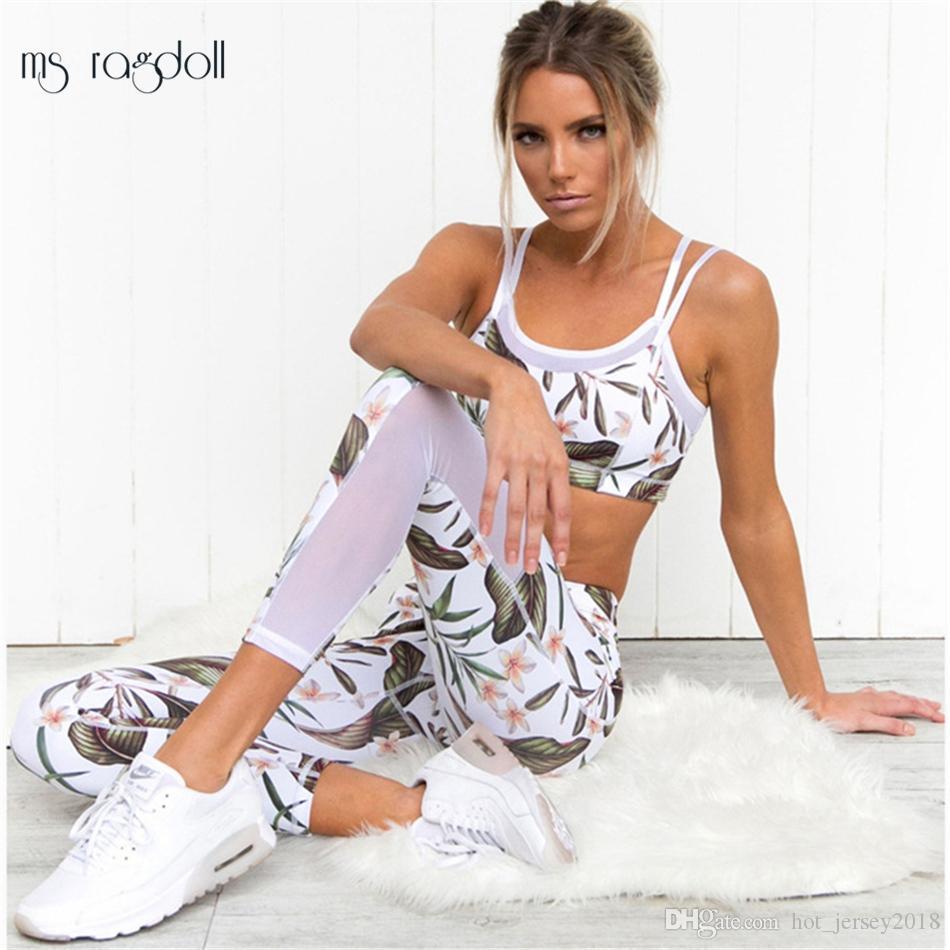 af641c3e1db4 Chándal para las mujeres estampado floral Mash Patchwork 2 piezas Yoga Set  mujeres sujetador recortado + pantalón largo Fitness deporte traje de ...
