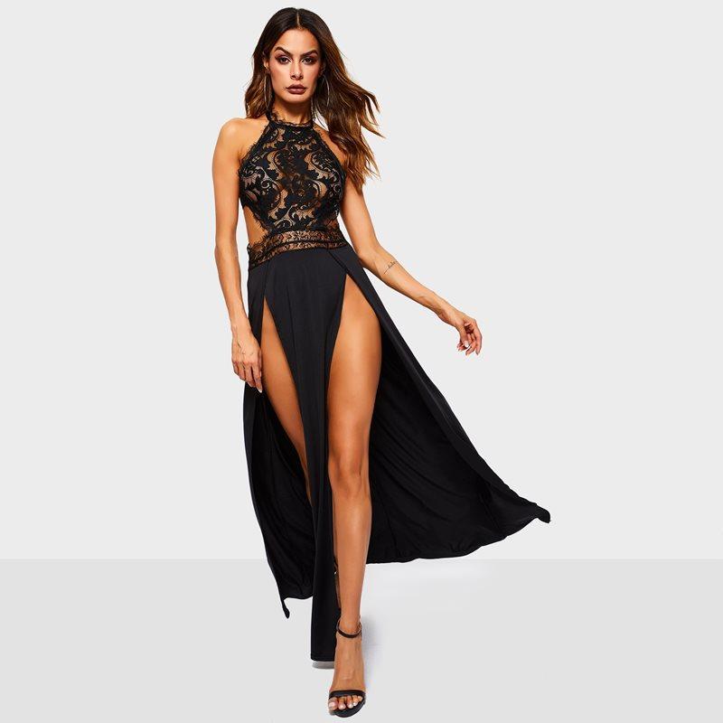 88762ade3b19 Acquista Donne Maxi Abiti Nero Sexy Elegante Ufficio Lady Vintage Aline  Plain Hollow Split Summer Party Pizzo Backless Femminile Abito Lungo A   33.06 Dal ...