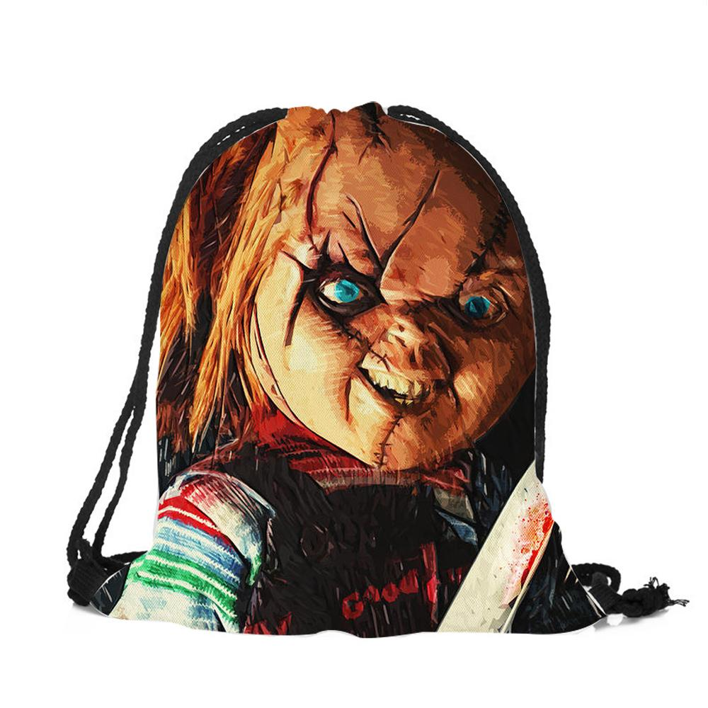 Practical Gym Drawstring Backpack Shoes Clothes Sports Bag Horror Chucky Print Unisex Women Men String Backpacks Dropshipping