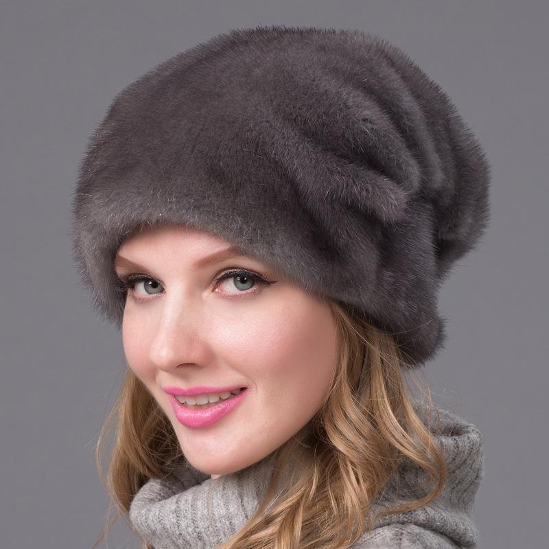 Satın Al Sıcak Otantik Gerçek Vizon şapka Kış Rus Kadınlar Sıcak