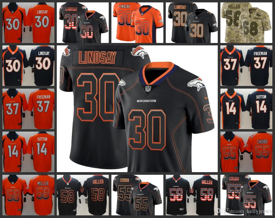best website c3a87 506da Denver Embroidery Broncos Men Jersey #30 Phillip Lindsay 55 Bradley Chubb  58 Von Miller Women Youth Football Jerseys