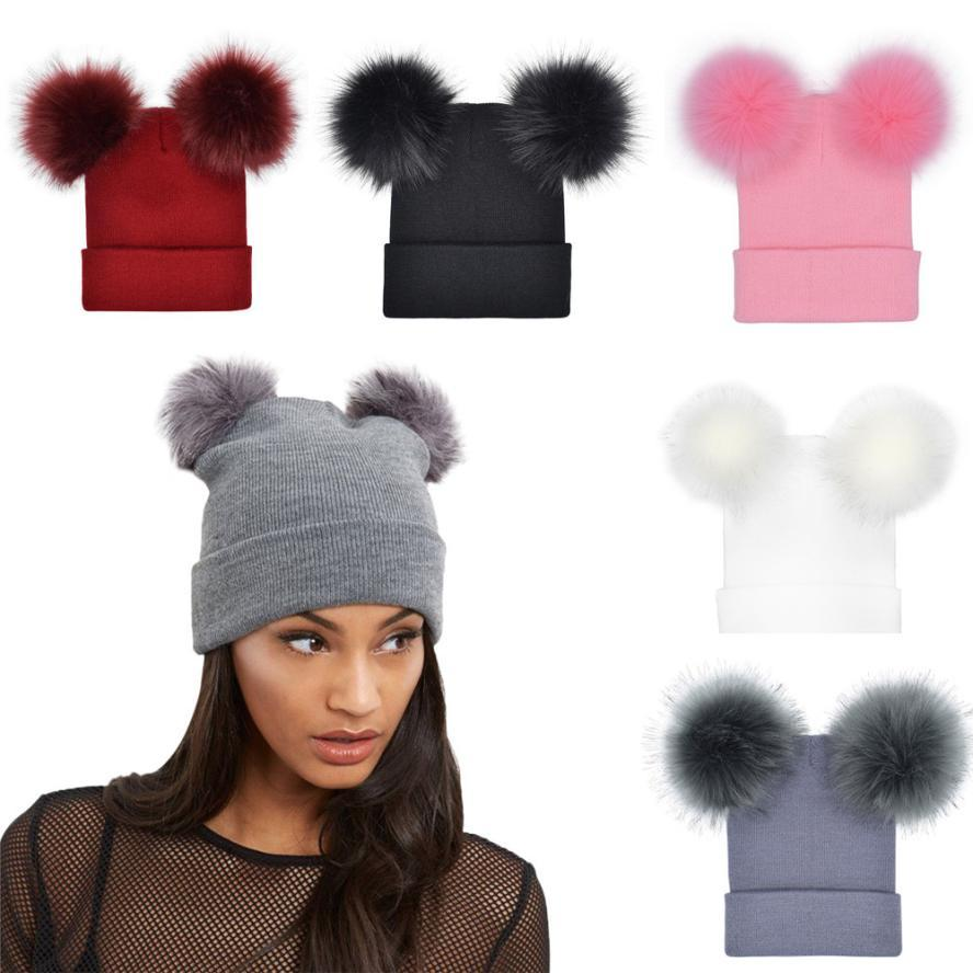 be8849d6008 2019 2018 Autumn New Women Faux Fur Pompom Hat Female Winter Warm Cap  Knitted Beanie Girl Double Ball Pom Pom Hats Woman Bonnet Femme From  Fayhouse