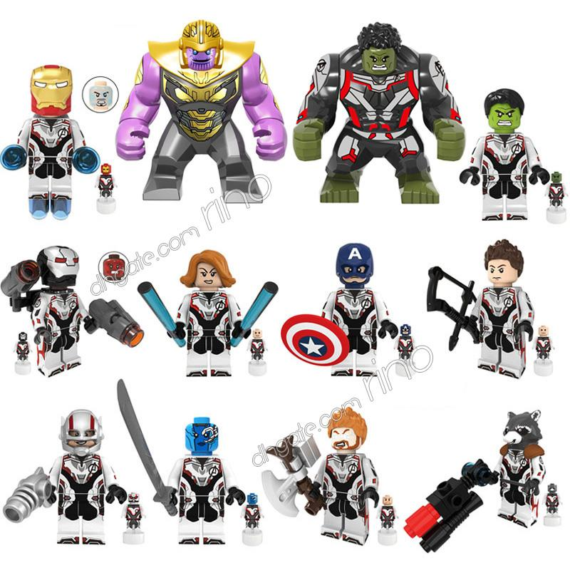 the Avengers Endgame Marvel building blocks Sets 12pcs Kid Toys Iron Man Captain America Black Widow Thor Thanos Hulk Nebula Figures Gifts