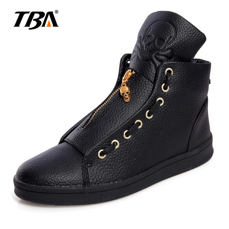 a666ab271 TBA Men Leather Shoes Winter High Top Skull Gold Zipper Design Men Shoes  Hip Hop Skeleton Mens Joggers Zapatillas Homme UK 2019 From Gospurs, ...