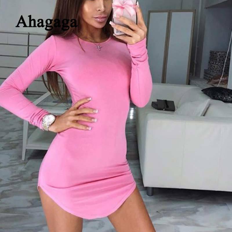 95eb9956def3 2019 2019 Spring Dress Women Bodycon Solid Pink Regular Long Sleeve O Neck  Casual Sexy Club Sheath Dress Women Dresses Vestidos Robes Y190117 From  Jinmei02