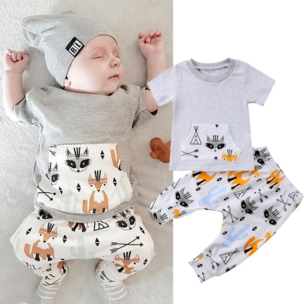 360c77a359ed4 2019 0 24M Newborn Kids Baby Boy Clothes Set Short Sleeve Summer T Shirt  Top Cartoon Pants Outfit Cotton Infant Children From Ys_shop, $12.99 |  DHgate.Com