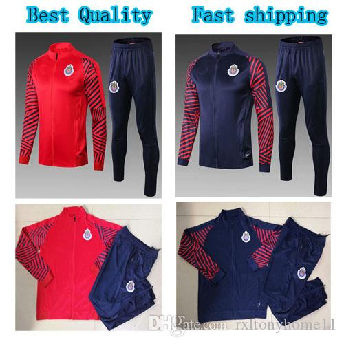 6a6836411 2019 Chivas Soccer Jacket Tracksuit 2019 Guadalajara Red Navy Blue Long  Sleeve 19 20 Top Quality Football Jacket Sports Pants Kit From  Rxltonyhome11