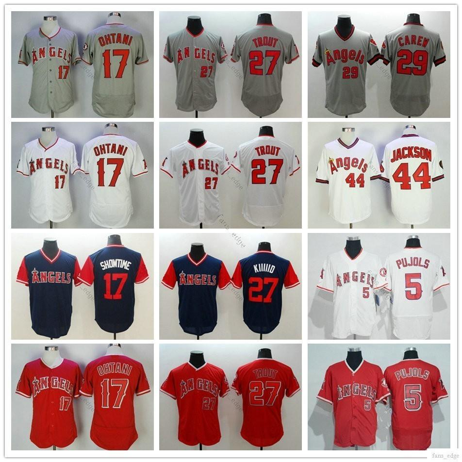 uk availability 07f96 501f8 Cheap Los Angeles #5 Albert Pujols 17 Shohei Ohtani Jersey 27 Mike Trout 29  Rod Carew 44 Reggie Jackson Home Away Red White Gray Jerseys