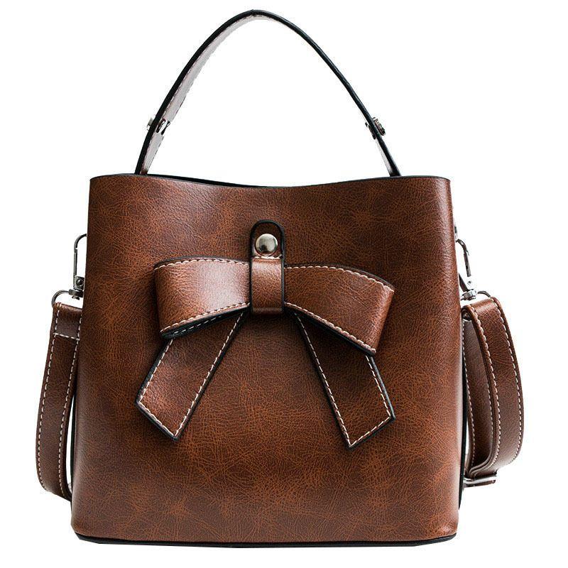 4f980c7be1c75 Vintage Fashion Female Bucket Bag 2019 New High Quality Pu Leather Women S  Designer Handbag Bow Tote Shoulder Crossbody Bags Leather Satchel Ladies  Bags ...