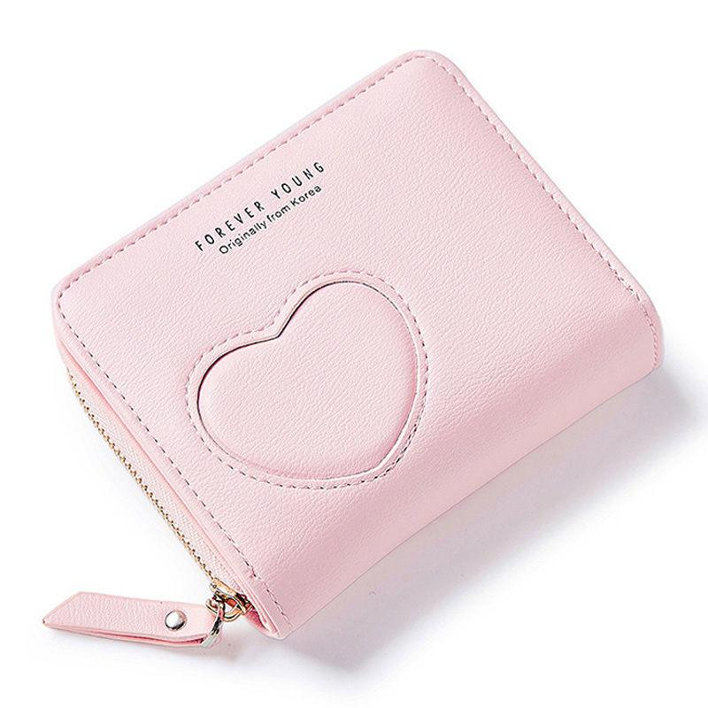 371a2071d2 New Designer Heart Cute Pink Small Wallet For Women Lady Mini Clutch Coin  Purse Card Holder Pocket Girl Short Wallets Zipper Hobo Wallet Ladies  Wallets From ...