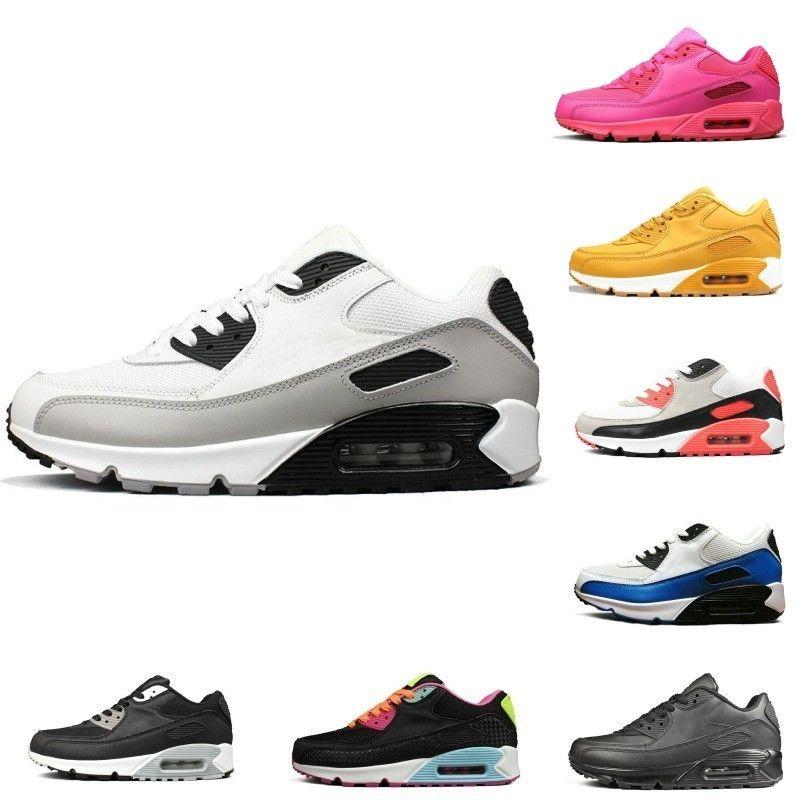 Triple Blanc Noir Jaune 90 Hommes Chaussures De Course Chaussures Gris Rose Hommes Baskets Coussin Surface Respirant Sport Sneakers 36 45