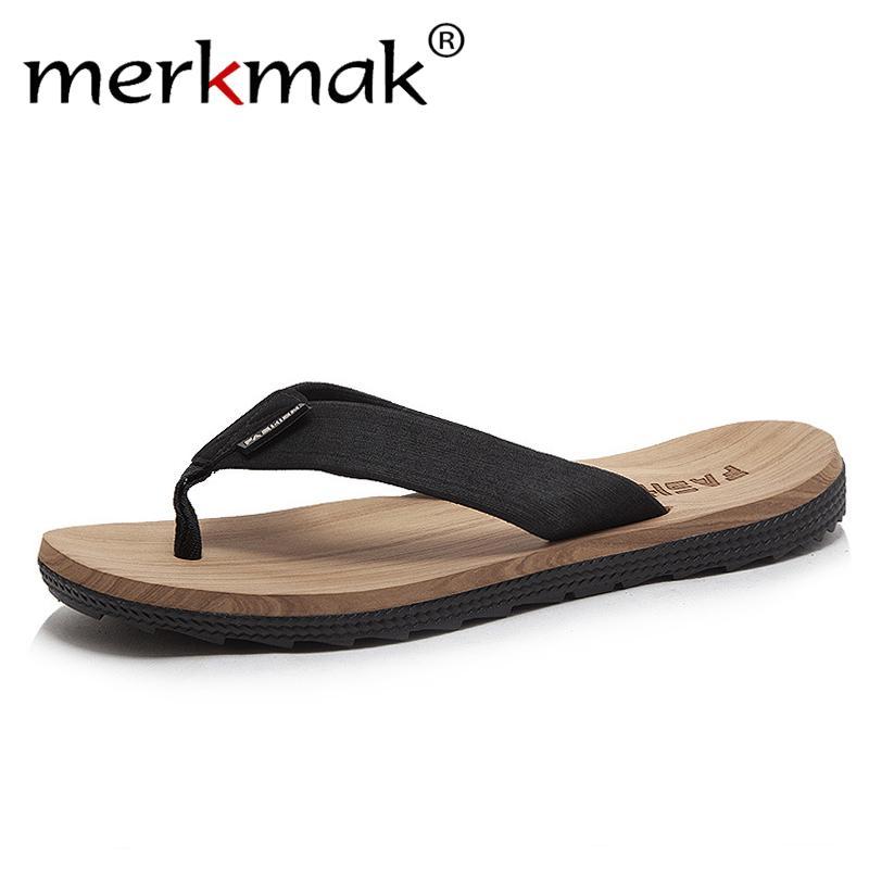 fd271a6fe5e4 Merkmak 2019 Men Summer Flip Flops Shoes Casual Beach Sandals Male Fashion  Outdoor Slipper Flip Flops High Quality Footwear Male Shoe Boots Fur Boots  From ...