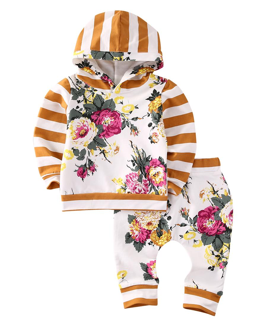 1487599e UK Toddler Kids Baby Girls Hooded Sweatshirt Tops Floral Pants ...