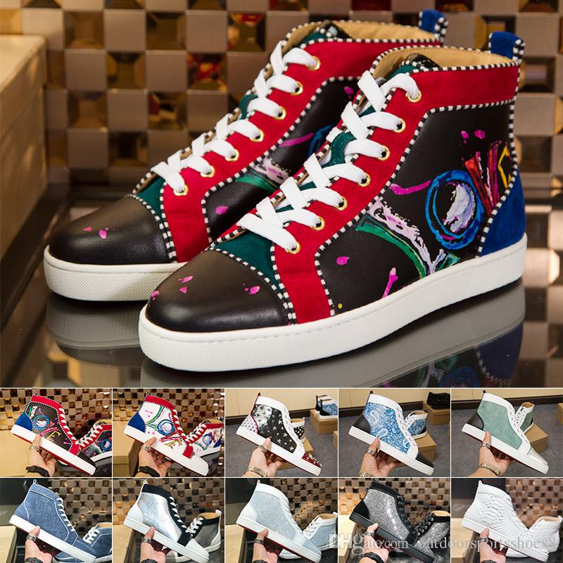 82b59f68c7a4 2019 2019 Newest Designer Luxury Mens Women Red Bottoms Shoes Fashion  Studded Spikes Flats Christian Red Bottom Sneakers Red Sole Trainer Shoes  From ...