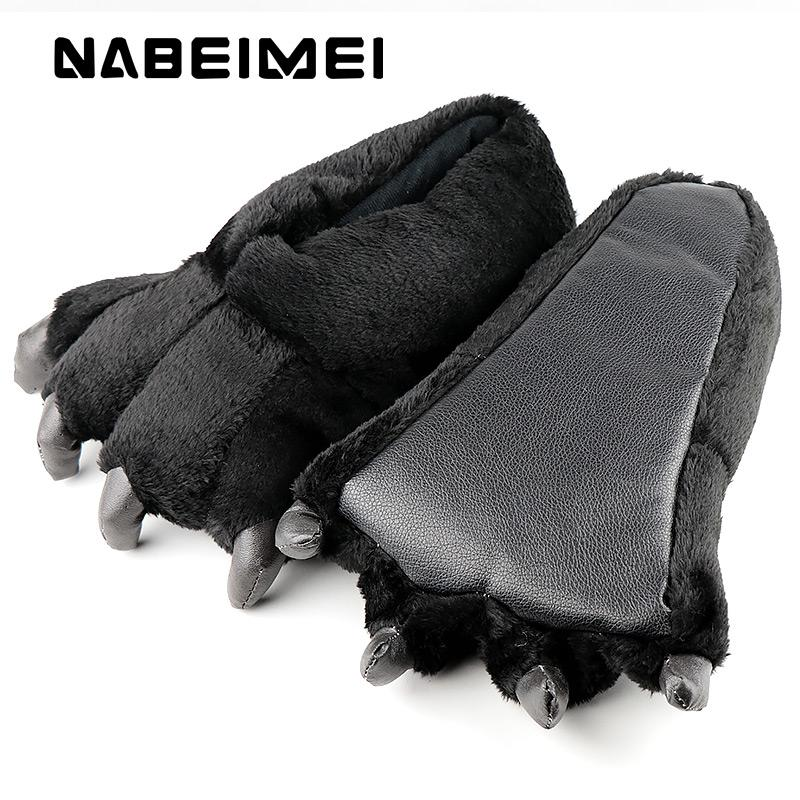 Women slippers Large size 39-46 ladies home slippers fashion totem bear corduroy solid synthetic funny woman shoes